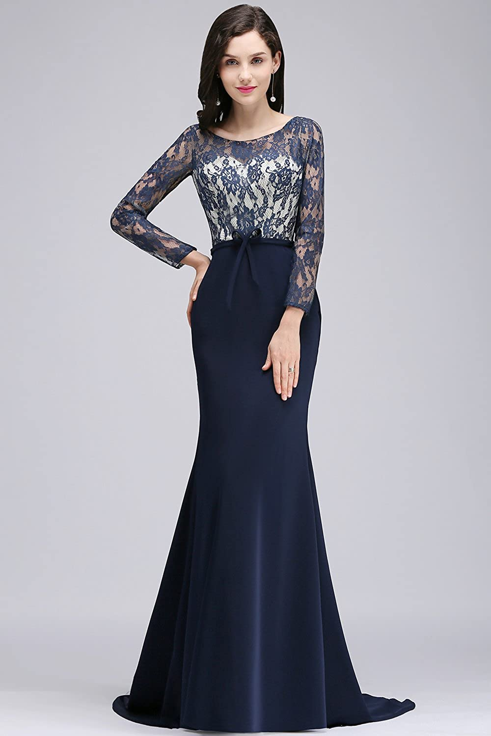 18a95f13b90e MisShow Elegant Lace Long Sleeve Formal Mermaid Evening Prom Gown Maxi  Dresses at Amazon Women s Clothing store