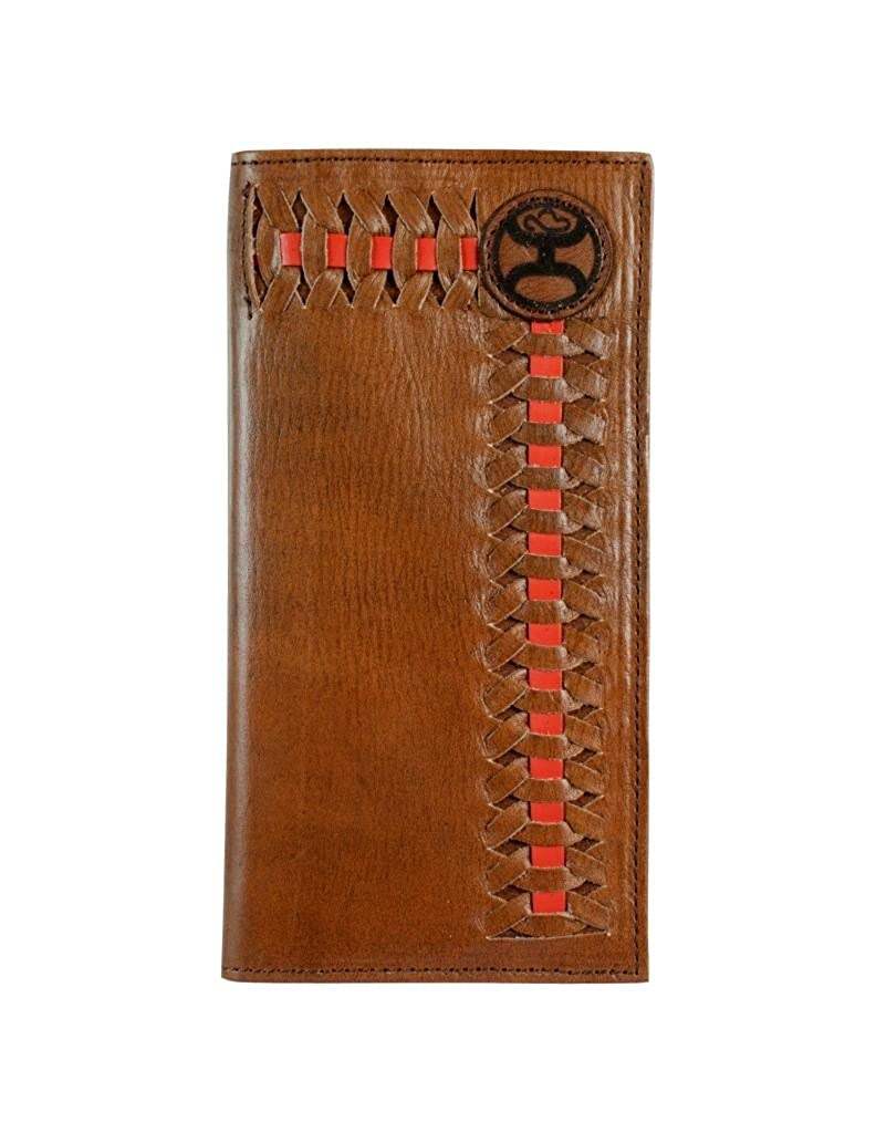 Hooey Brand Signature Red//Brown Interlaced Dark Brown Leather Rodeo Wallet 1829137W5