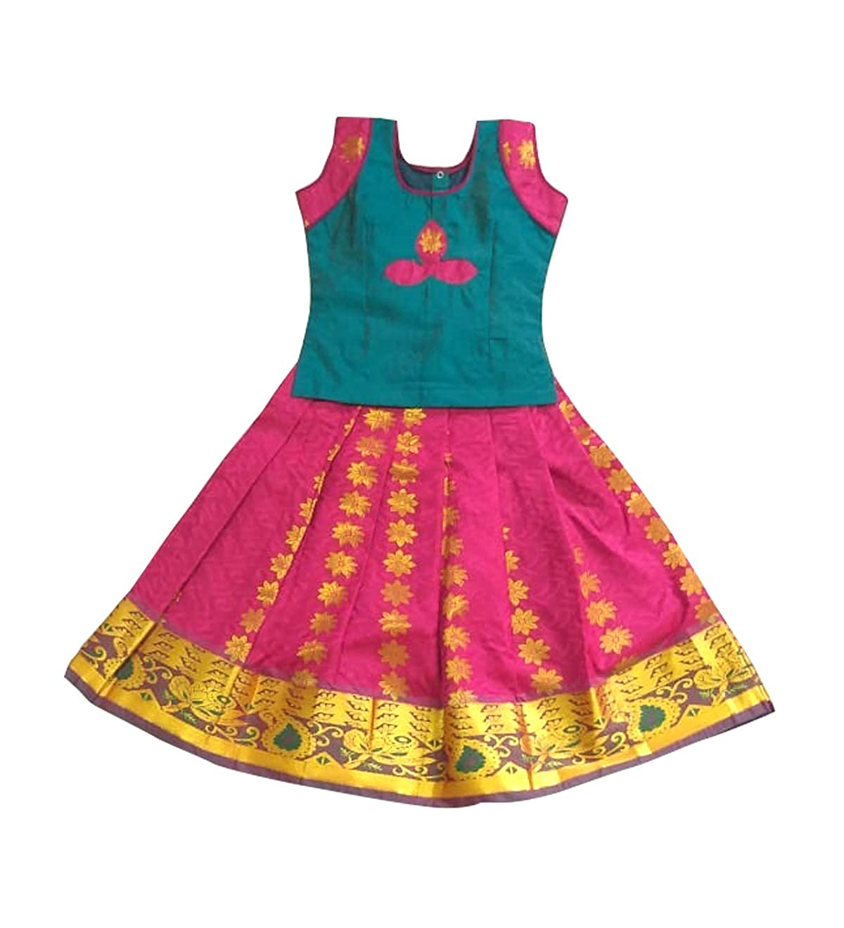 01e57704c738 Pattu Pavadai Semi Raw Silk Pavadai Pink and Rama Green for Baby Girls &  Kids, 4 Years: Amazon.in: Clothing & Accessories