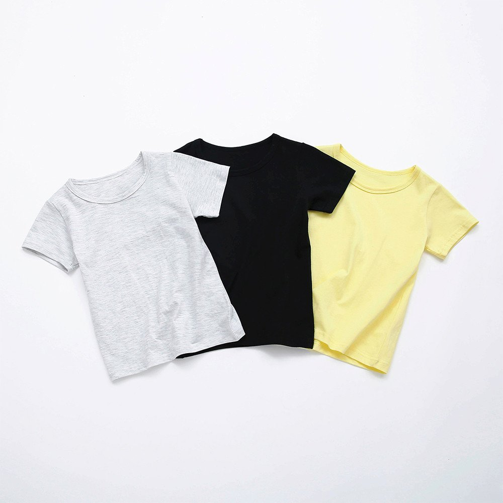 Kids Cheap T Shirts,Boys Solid Candy Color Tee Tops Little Girls T Shirts Pajama Shirts.(Gray,100) by Wesracia (Image #5)