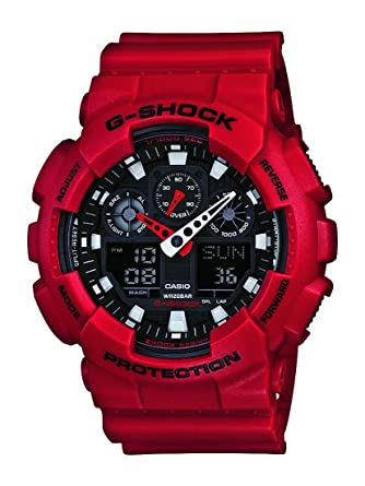 cacab129ef58 Amazon.com  Casio Men s XL Series G-Shock Quartz 200M WR Shock Resistant  Resin Color  Red (Model GA-100B-4ACR)  CASIO  Watches