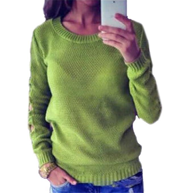 Honghu Flojo de Manga Cortas con Cuello Redondo Top de Punto Outwear  Jerséis Suéter para Mujer Tamaño L Verde  Amazon.es  Ropa y accesorios 7cdc5f01d5f0
