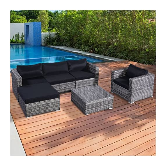 """Tangkula Patio Furniture Set 6 Piece Outdoor Lawn Backyard Poolside All Weather PE Wicker Rattan Steel Frame Sectional Cushioned Seat Sofa Conversation Set (Gradient Gray with Black Cushion Cover) - 【Sturdy & Long-lasting】Tangkula 6 piece outdoor wicker furniture includes 1 coffee table, 1 ottoman, 1 single sofa, 1 armless sofa and 2 corner sofas. They are made of aluminum frame and surrounded by PE wicker. Aluminum construction ensures stable, large weight capacity but light and easy to move. PE wicker is weatherproof, suitable for outdoor furniture. Cushions are made of polyester fabric and sponge. This furniture can be lasted for years. 【Modern & Comfortable】The 6 PCS wicker sofa set comes with gray wicker and black cushions. Specific color. 3.15"""" thick and soft cushion will bring you relax and comfortable. You can place this furniture in variety of ways in anywhere. 【Installation & Size】All necessary hardware and tools are included in the package. It's very easy to assemble with our manual. Single Sofa: 33""""×29.53""""×24.8""""(L×Deep×H), Ottoman: 29.53""""×29.53""""×12.60""""(L×Deep×H), Table: 29.53""""×29.53""""×12.60""""(L×W×H), more detail info plz check pic - patio-furniture, patio, conversation-sets - 61eAlL LK L. SS570  -"""