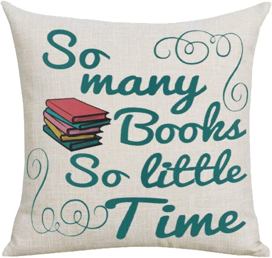 WePurchase So Many Books So Little Time Quote to Book Lover Colorful Books Inspirational Decoration Cotton Linen Decorative Home Sofa Living Room Throw Pillow Case Cushion Cover Square 18x18 Inches