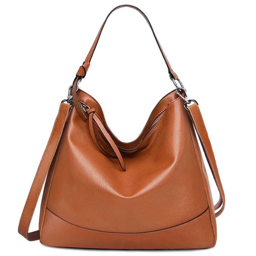S-ZONE Women's Genuine Leather Handbag Hobo Bag Large Tote Shoulder Bag Crossbody Bag