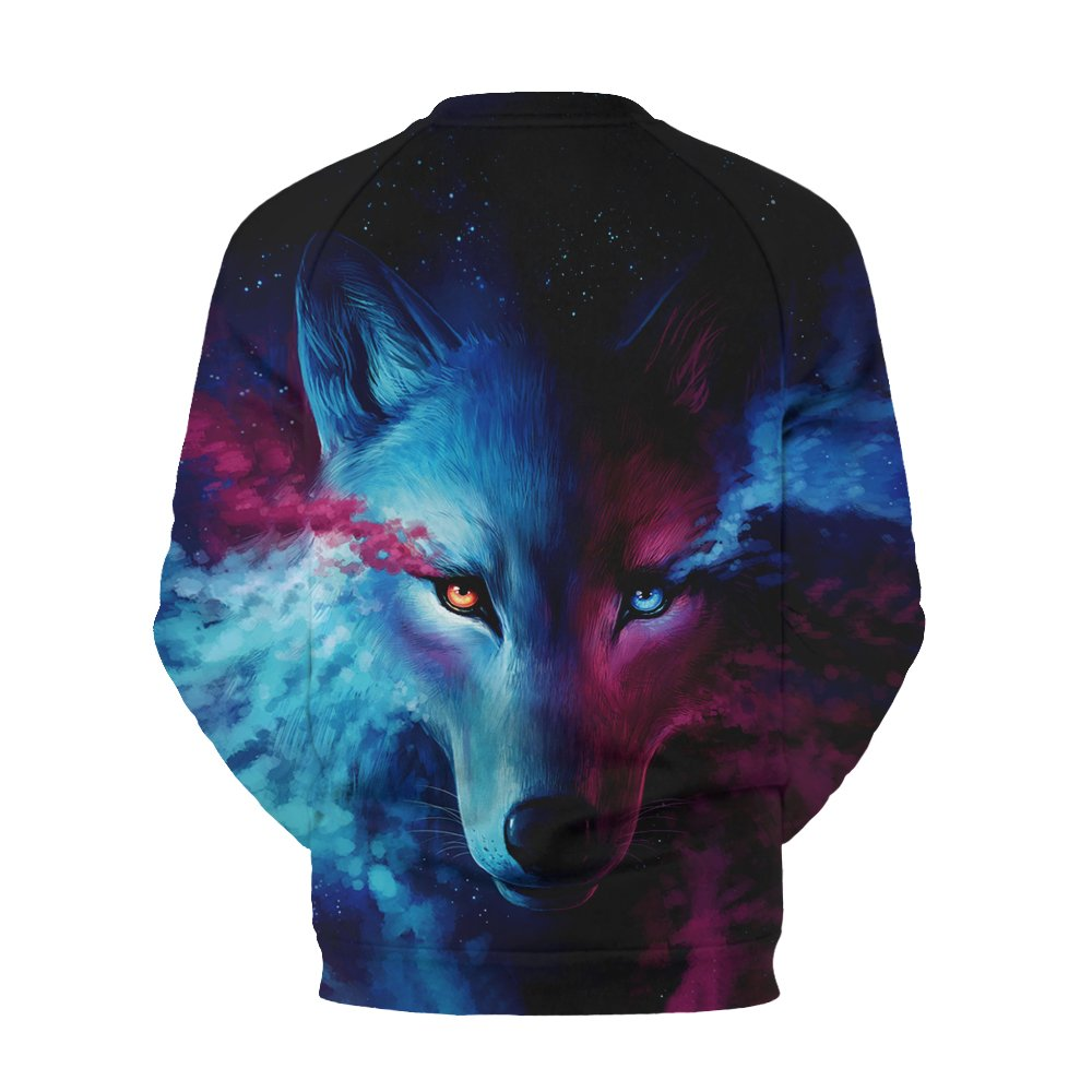 Apanqiqi Wolf Print O-Neck Sweatshirts For Men 3D Print Loose Sudadera Hombre Workout at Amazon Mens Clothing store:
