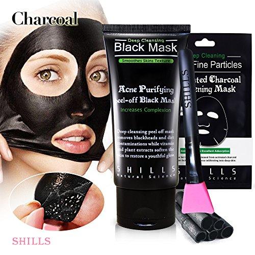 SHILLS Black Mask, Blackhead Peel Off Mask, Blackhead Remover Mask, Charcoal Mask, Black Mud Face Mask x1, black mask x1, Blackhead Cleansing Brush Kit