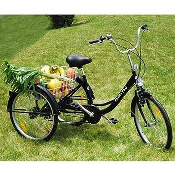 Pescador 24 pulgadas Triciclo para adultos 3 rueda bicicleta de 6 marchas Last bicicleta adultos Triciclo ancianos Rueda con cesta negro: Amazon.es: ...