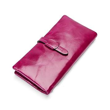 Billetera Cera de cuero Color sólido Bolso de mano de hombre ...