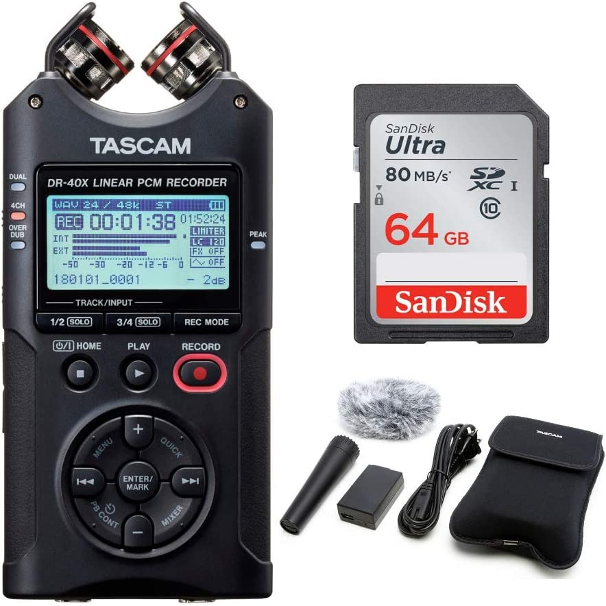 Tascam DR-40X Portable Audio Recorder Bundled with 32GB Memory Card
