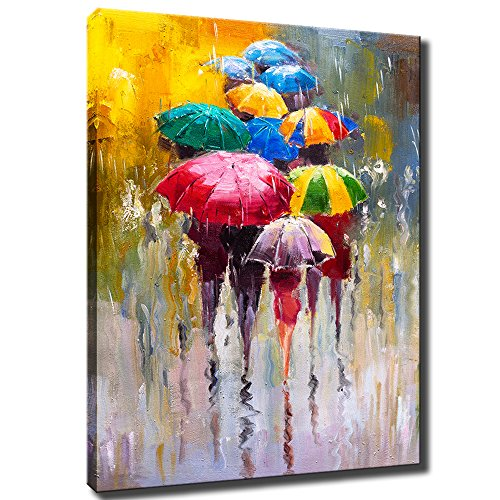 KLVOS Large Canvas Print Wall Art- 24x36 Colorful Umbrella Office Worker Walking in The Rain Canvas Oil Painting Picture Artworks Modern Landscape for Home Wall Decor Ready to Hang (Red Rain Art Print)