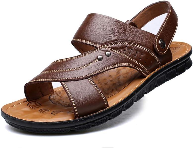fc21bc6d081 Sandale Chaussure de Plage de Piscine de Sport Aquatique pour Homme  Pantoufle Chaussure de Barefoot en Cuir Antidérapant