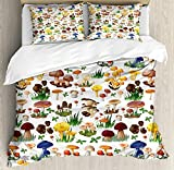 Our Wings Mushroom Comforter Set,Pattern Types Mushrooms Wild Species Organic Natural Food Garden Theme Bedding Duvet Cover Sets Boys Girls Bedroom,Zipper Closure,4 Piece,Multicolor Twin Size