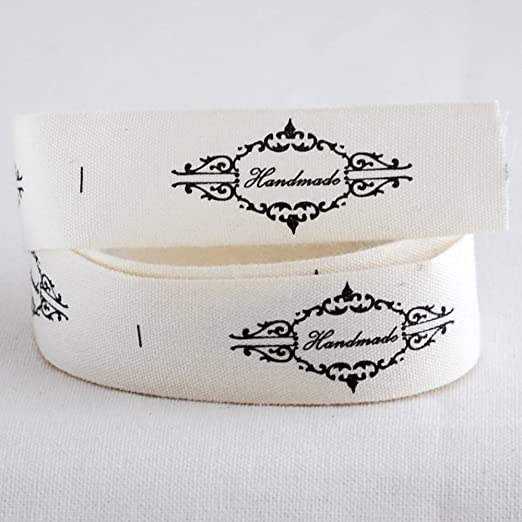 20 etiquetas de costura impreso tela de algodón cinta – hecho a ...