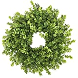 """Fargal 18"""" Door Wreath (Artificial) Real Wicker Frame, Faux Boxwood Leaves 