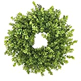 Fargal 16' Door Artificial Wreath Real Wicker Frame, Faux PVC Boxwood Leaves | Farmhouse Home Décor | Built-in Hanging Loop | Sturdy Indoor, Outdoor Decoration