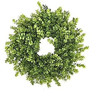 "Fargal 16"" Door Artificial Wreath Real Wicker Frame, Faux PVC Boxwood Leaves 