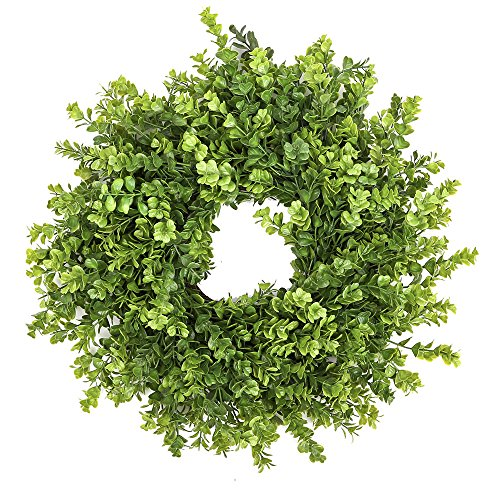 Fargal 18″ Door Artificial Wreath Real Wicker Frame, Faux PVC Boxwood Leaves | UV Resistant Farmhouse Home Décor | Built-in Hanging Loop | Sturdy Indoor, Outdoor Decoration