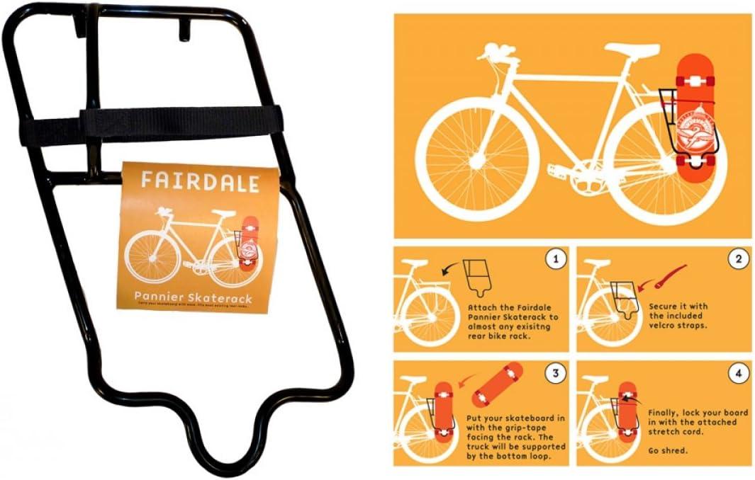 Fairdale Bikes Pannier SkateRack Skateboard Holder Black for Rear Bicycle Rack