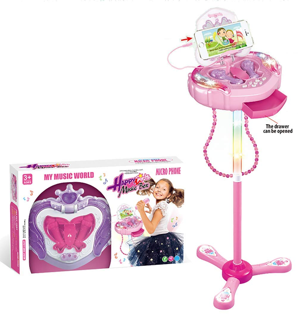 Kids Karaoke Machine, Portable Kid Microphone Toys with Adjustable Stand & Flashing Lights, Kid Gifts for 3-6 Year Old Girls