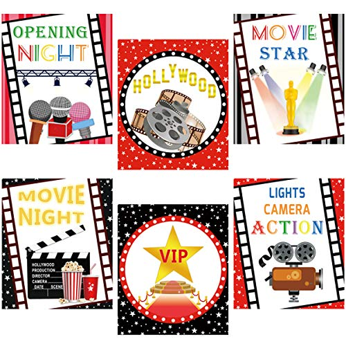 Movie Night Cutouts for Hollywood Party Decoration 6Pcs