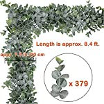 "Supla 1 Pcs Faux Eucalyptus Leaves Garland Fake Artificial Hanging Eucalyptus Greenery Garland - 8.4 Ft Long x 7.9"" Wide in Grey Green for Wedding Holiday Decorations UV Protected Indoor Outdoor"