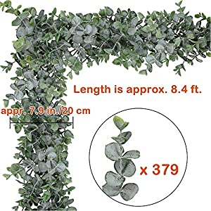 """Supla 8.7' Long 5.9"""" Wide Faux Eucalyptus Leaves Garland Fake Artificial Hanging Eucalyptus Greenery Garland in Grey Green for Wedding Holiday Decorations UV Protected Indoor Outdoor 2"""