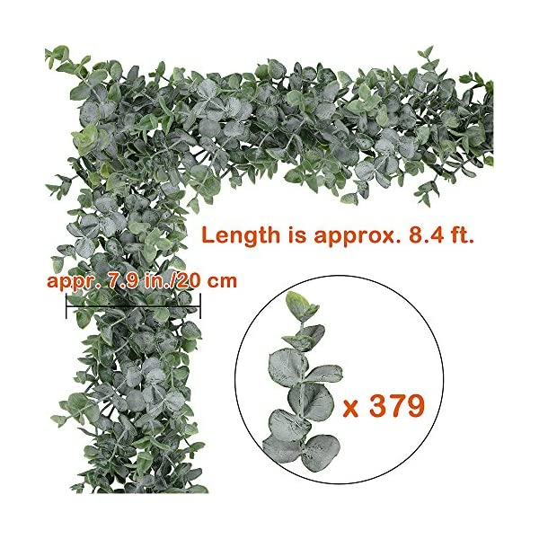 Supla-87-Long-79-Wide-Faux-Eucalyptus-Leaves-Garland-Fake-Artificial-Hanging-Eucalyptus-Greenery-Garland-in-Grey-Green-for-Wedding-Holiday-Decorations-UV-Protected-Indoor-Outdoor