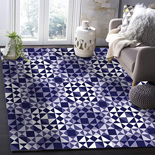 OUR WINGS Modern Area Rug,Triangles Purple Mosaic Abstract Geometric Pattern 5 Feet by 6.9 Feet Indoor Area Rugs Living Room Carpets for Home Decor Bedroom Nursery Rugs