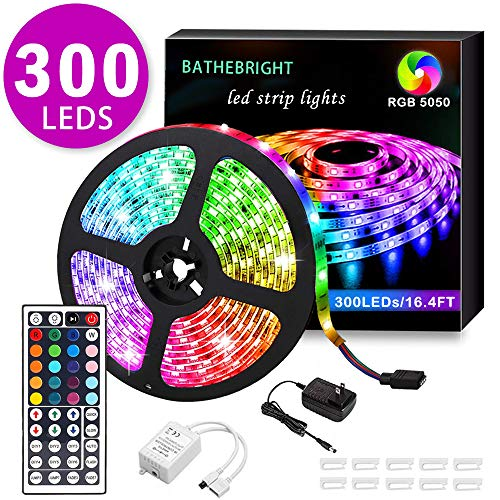 BATHEBRIGHT LED Strip Light Waterproof IP65 16.4ft 300Leds RGB SMD 5050 Rope LEDs Color Changing Light Full Kit with 44 Keys IR Remote Controller 12V 2A Power