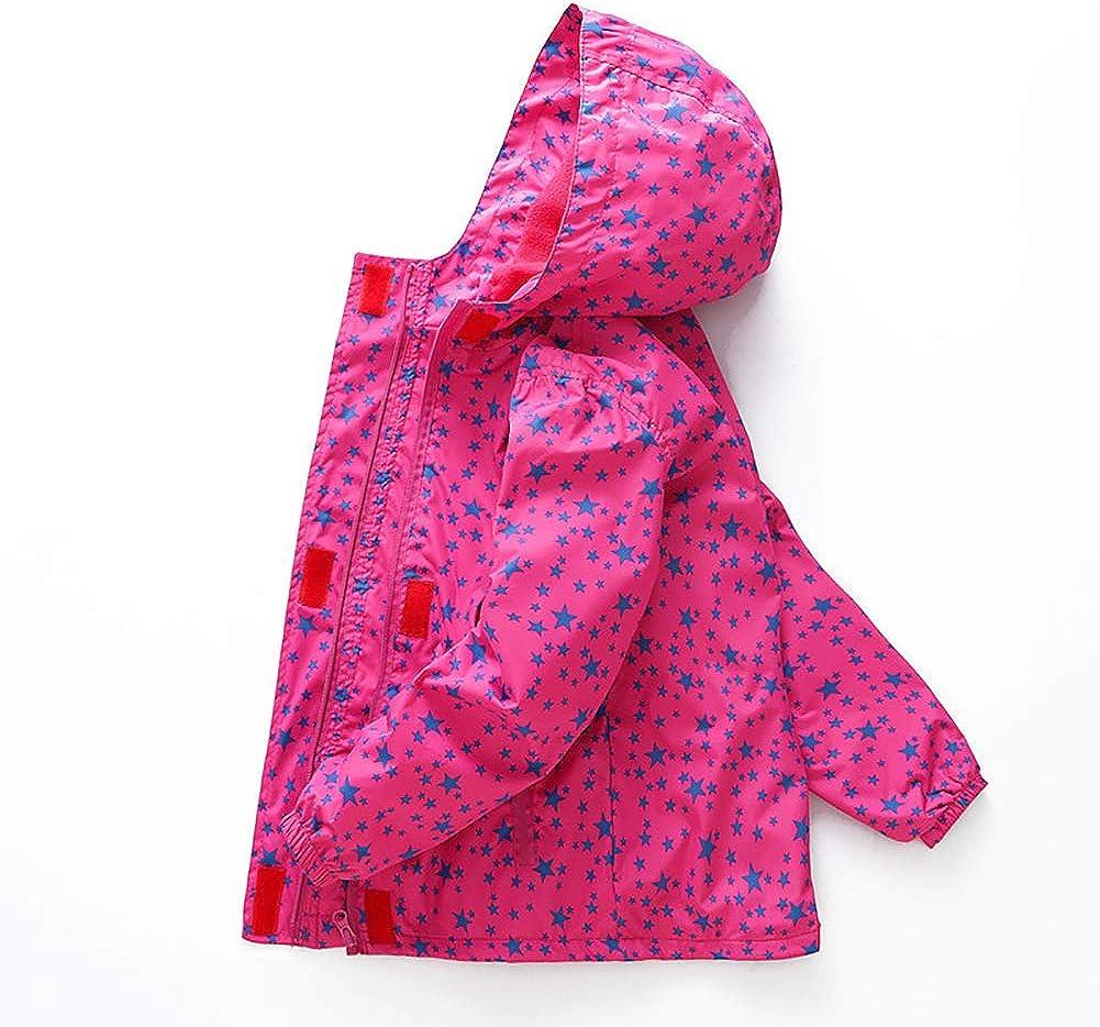 MissChild Girls Waterproof Windproof Jacket with Hood Fleece Lined Outdoor Light Rain Coats for Winter