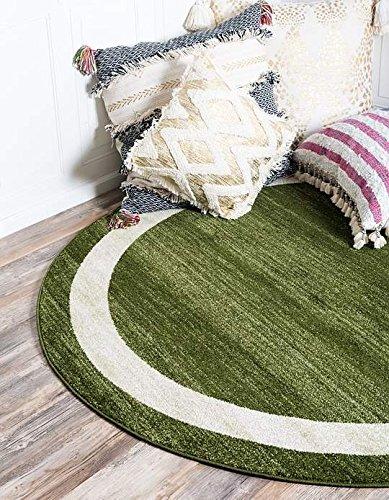 Unique Loom Del Mar Collection Green 8 ft Round Area Rug (8' x 8') Green Garden Rug