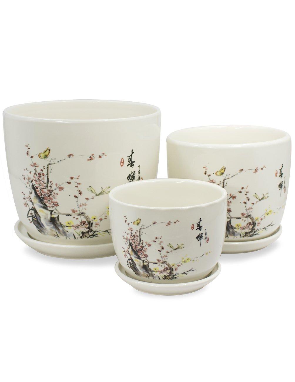 Dahlia Set of 3 Hand Painted Ceramic Planter Plant Flower Pot w. Attached Saucer, Peach Blossom