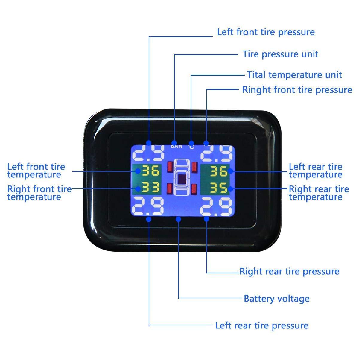 Audio-Alarm und LCD-Display Kabelloser Zigarettenanz/ünder 4 externen Sensoren Foxroar Reifendruckkontrollsystem TPMS Reifendruckpr/üfer mit USB-Ladeanschluss