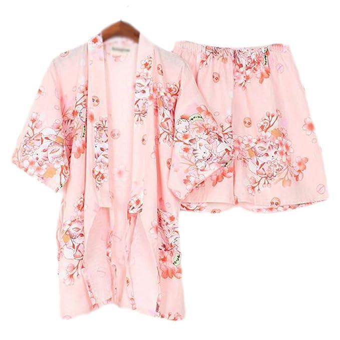 LUNA VOW Las mujeres del estilo japonés de algodón fino albornoz pijama Kimono camisa corta traje