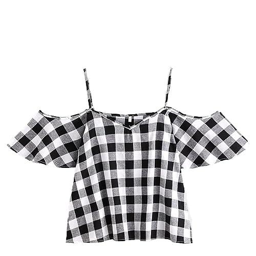 SHOBDW Murjeres Camisetas Mangas Corta Verano Casual Blusa Tirantes de Impresión de la Mariposa de L...