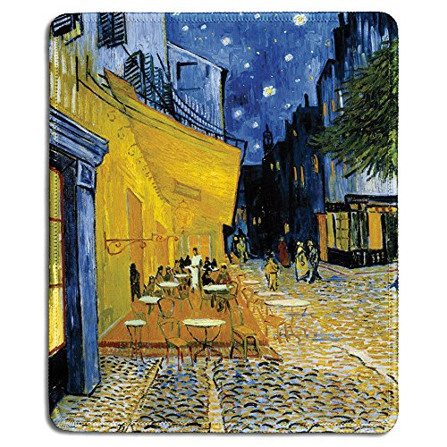- dealzEpic - Art Mousepad - Natural Rubber Mouse Pad with Famous Fine Art Painting of The Cafe Terrace at Night by Vincent Van Gogh - Stitched Edges - 9.5x7.9 inches