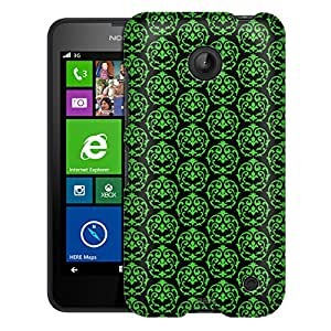 Nokia Lumia 635 Case, Slim Fit Snap On Cover by Trek Victorian Drawn Green on Black Case