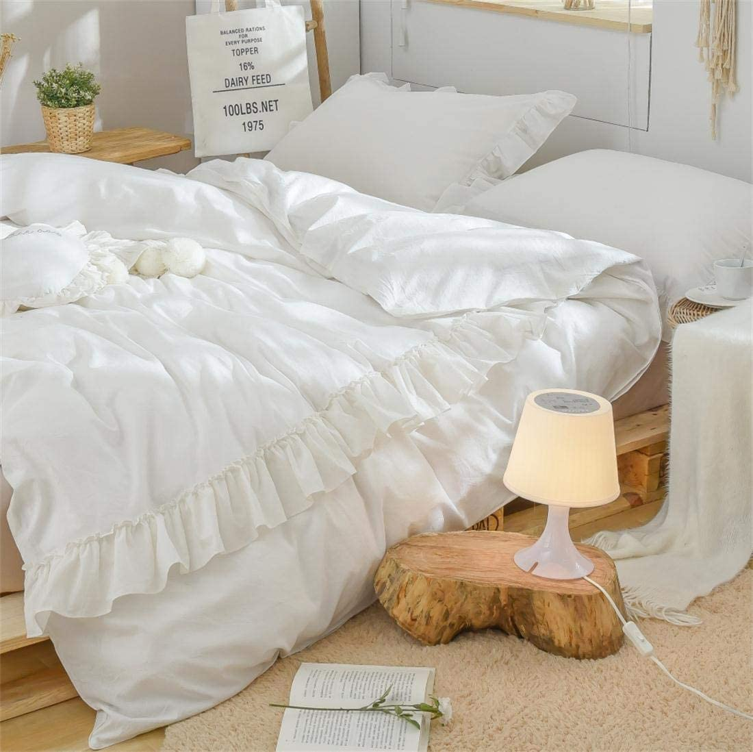 Softta California King Bedding White 3 Pcs Boho Duvet Cover Vintage and ShabbyRuffle Bohemian Quilt Cover 100% Washed Cotton Baby Teen Girls Bedding