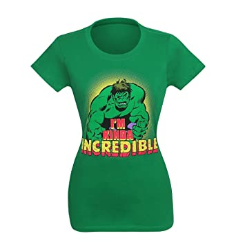 fc14161d7bc Amazon.com  Hulk Women s I m Kinda Incredible T-Shirt- Slim Medium ...
