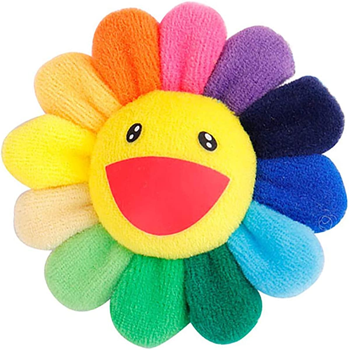 Mecool mignon sourire visage arc-en-ciel tournesols broche /épingle peluche jouet porte-cl/é d/écoration-color/é