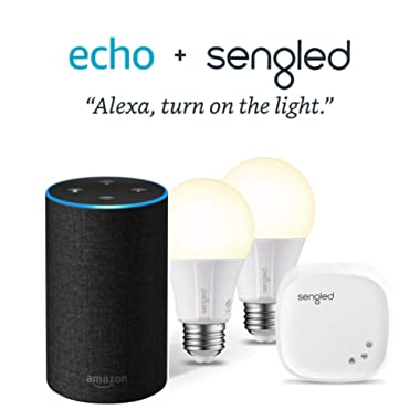 Echo (2nd Generation) - Charcoal Fabric with 2 Smart Bulb Kit by Sengled