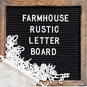 Felt Letter Board with 10x10 Inch Rustic Wood