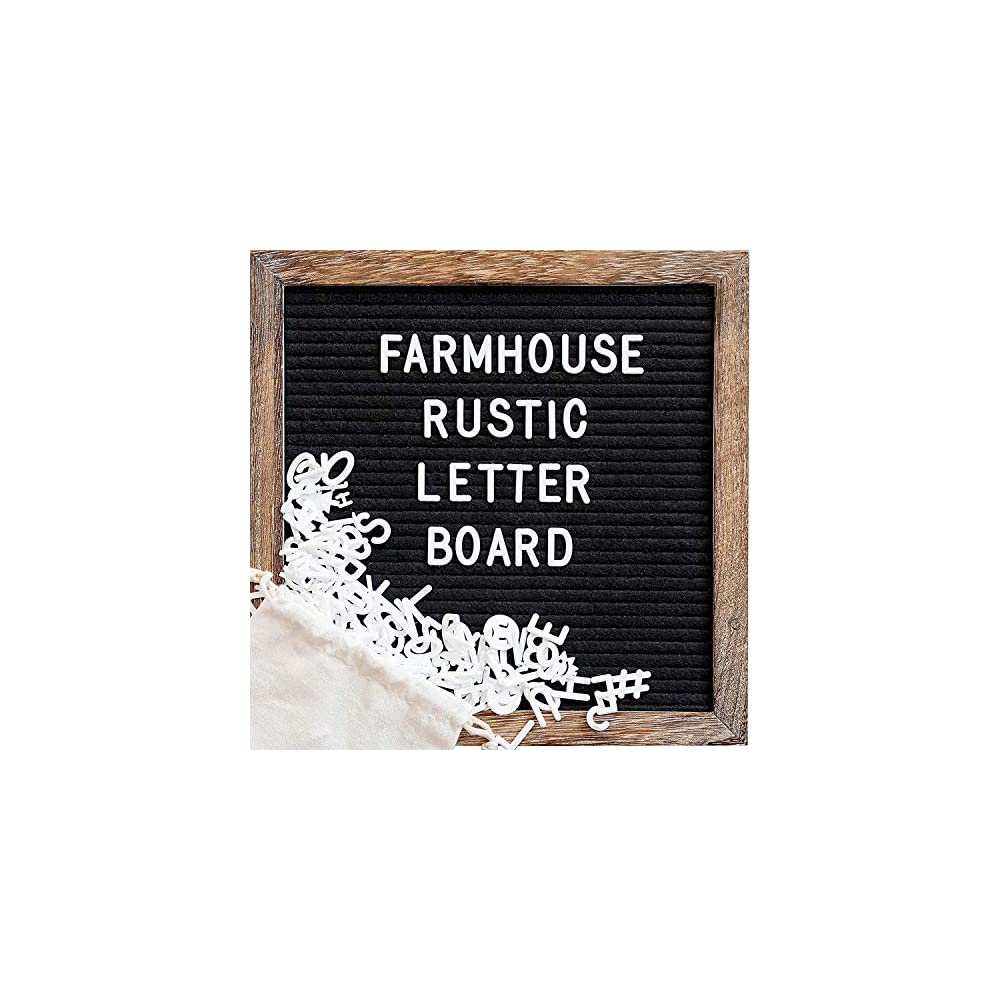 Felt Letter Board with 10x10 Inch Rustic Wood Frame, Script Words, Precut Letters, Picture Hangers, Farmhouse Wall Decor…