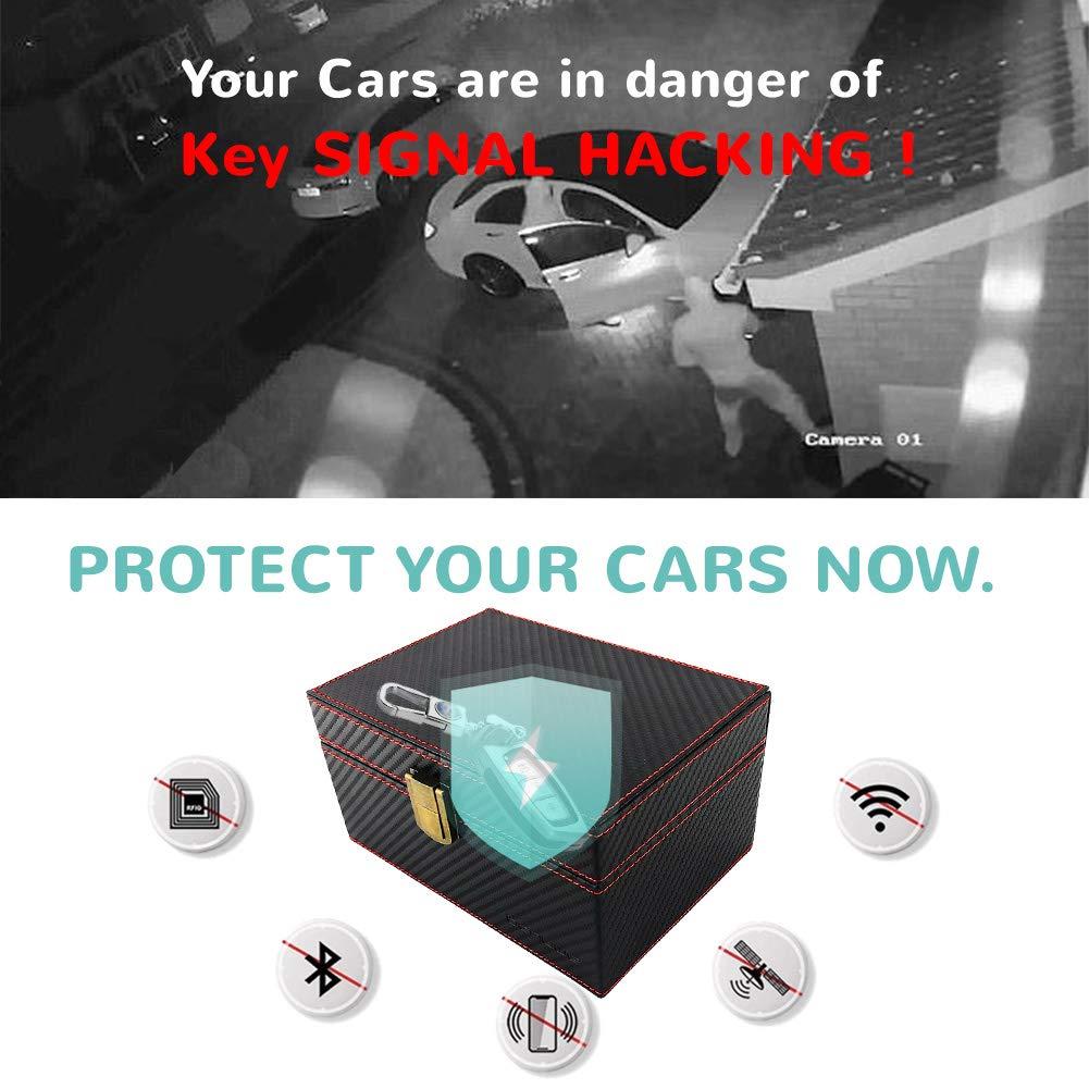 Anti Theft Keyless Car Security Box for Cellphone Faraday Cage Key Fob Protector Car Keys. Cards Call /& RFID Signal Blocking Box BENVWE Car Key Signal Blocker Box with Large Capacity