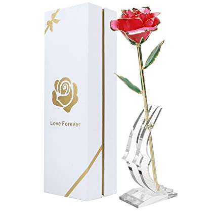 Amazon Childom 24K Pink Gold Dipped Rose Made From Real