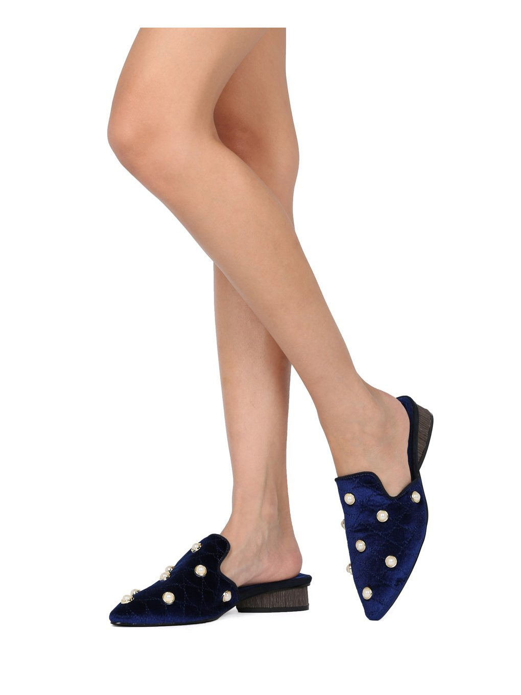 Alrisco Women Quilted Velvet Faux Pearl Pointy Toe Low Heel Mule HE91 - Navy Velvet (Size: 9.0) by Alrisco (Image #6)