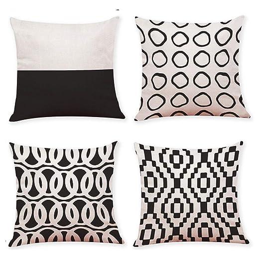 HOUMEL Blanco y Negro Almohada geométrica Cubierta de ...