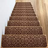 """Elogio Carpet Stair Treads Set of 13 Non Slip/Skid Rubber Runner Mats or Rug Tread - Indoor Outdoor Pet Dog Stair Treads Pads - Non-Slip Stairway Carpet Rugs (Brown) 8"""" x 30"""" Includes Adhesive Tape"""