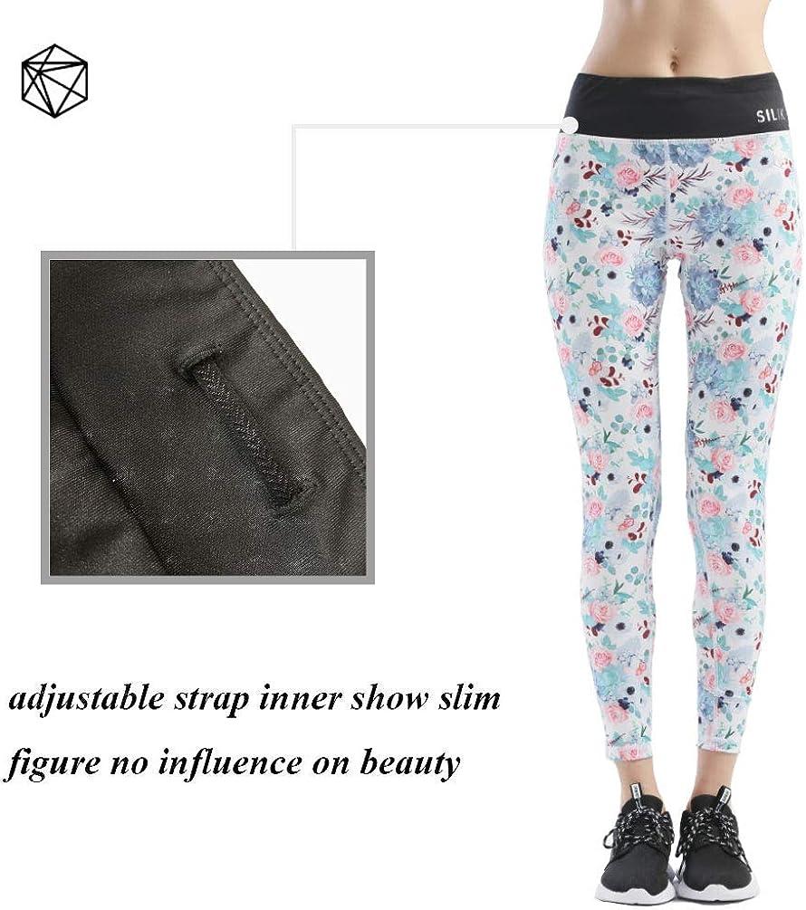 SILIK Pantalons Deportivos de Empalme con Bolsillo de Cintura Alta Pantalones de Yoga de Tela de Malla El/ásticos para Mujer